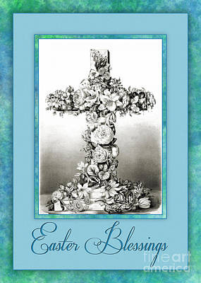 Digital Art - Floral Easter Cross by JH Designs