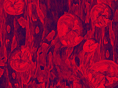 Digital Art - Floral Effusion In Red And Black by Lynda Lehmann