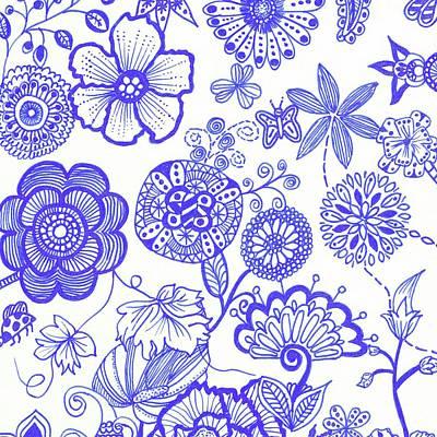 Drawing - Floral Extravaganza - Blue by Meegan Sullivan