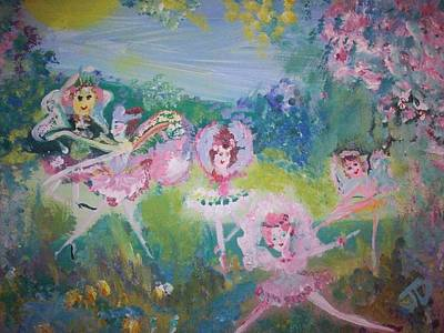 Art Print featuring the painting Floral Fairies by Judith Desrosiers