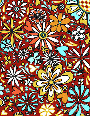 Floral Fiesta II Pattern Flowers And Hearts By Megan Duncanson Art Print