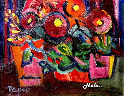 Floral Fiesta With Hola Art Print