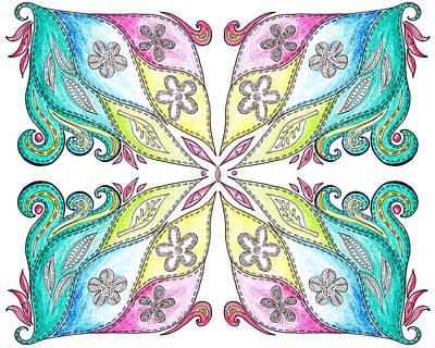Floral Flow Quilt  Art Print by Irina Sztukowski