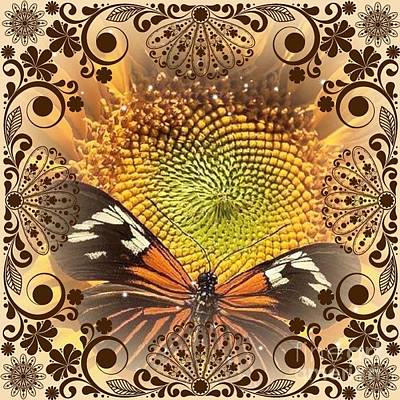 Catherine White Digital Art - Floral Framed Brown Butterfly by Catherine Lott