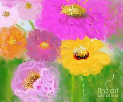 Birght Painting - Floral Garden  by Mira Dimitrijevic