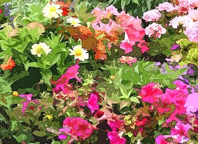 Impressionism Digital Art - Floral Garden Wonder Abstract by Linda Mears