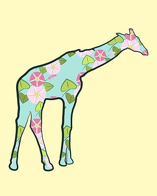 Digital Art - Floral Giraffe 2 by MM Anderson