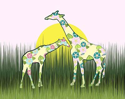 Digital Art - Floral Giraffes On The Savanna by MM Anderson