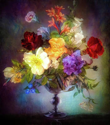 Mixed Media Royalty Free Images - Floral glowing composition Royalty-Free Image by Lilia D