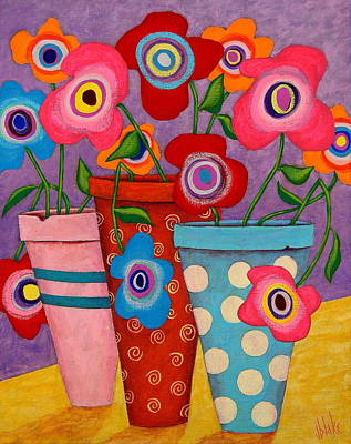 Folk Art Flowers Painting - Floral Happiness by John Blake