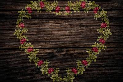 Mixed Media - Floral Heart On Wood by Vintage and Shabby Chic Art