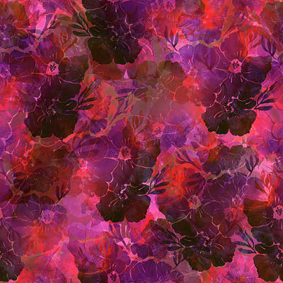 Floral Imprints In Shades Of Magenta And Red Art Print by Lucy Chiffon