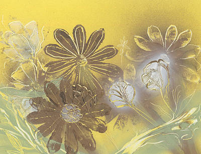 Painting - Floral In Gold And Yellow by Jason Girard