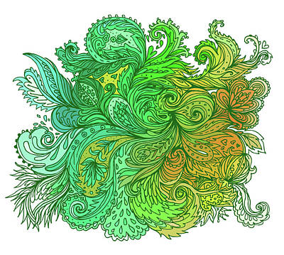Painting - Green Floral Indian Pattern by Aloke Creative Store