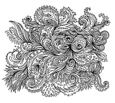 Painting - Black And White Floral Indian Pattern by Aloke Creative Store