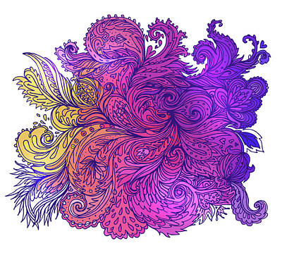 Painting - Purple Floral Indian Pattern by Aloke Creative Store