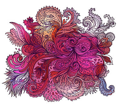 Painting - Pink Floral Indian Pattern by Aloke Creative Store
