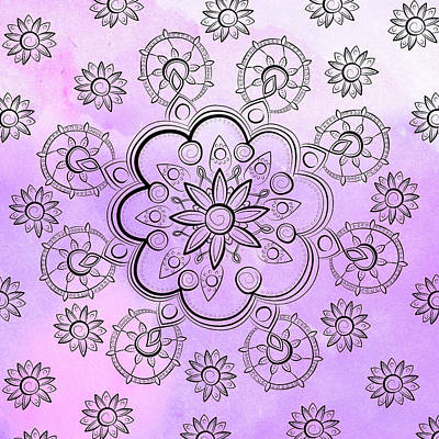 Floral Indie Mandala  Art Print by Latex Color Design