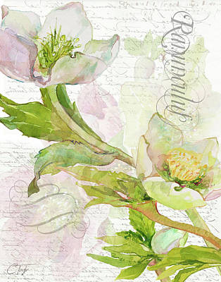 Mixed Media - Floral Lettres D'amour 11 by Colleen Taylor