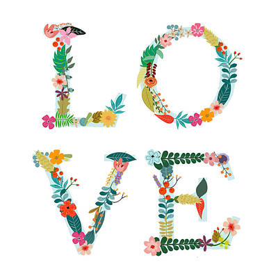 Flower Wall Art - Digital Art - Floral Love Letters by Amanda Lakey