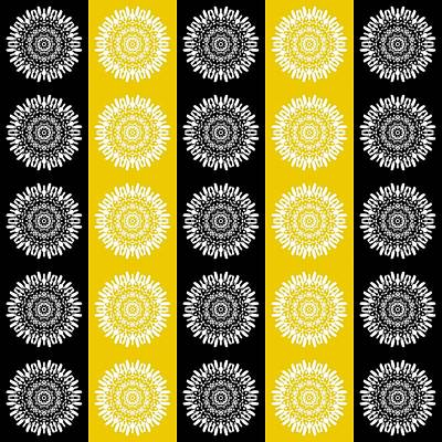 Digital Art - Floral Medallion Pattern In Black And Yellow by Patricia Strand