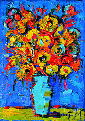 Oil Paining Painting - Floral Miniature - Abstract 0215 by Mona Edulesco