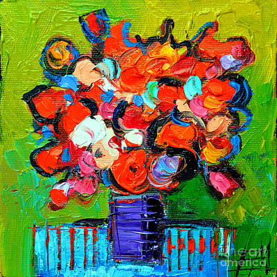 Oil Paining Painting - Floral Miniature - Abstract 0315 by Mona Edulesco