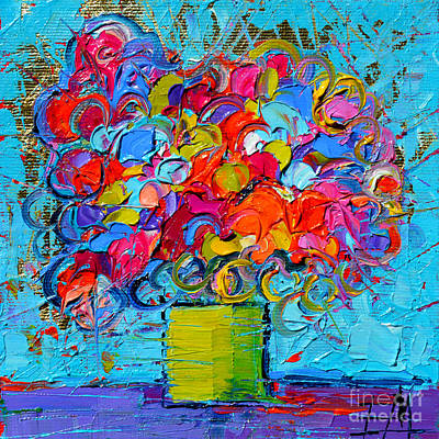 Oil Paining Painting - Floral Miniature - Abstract 0415 by Mona Edulesco