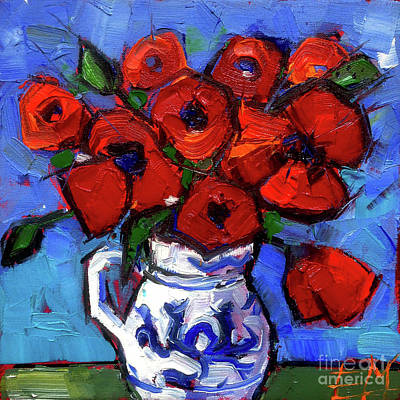 Oil Paining Painting - Floral Miniature - Abstract 0515 - Red Poppies by Mona Edulesco