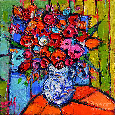 Oil Paining Painting - Floral Miniature - Abstract 0715 - Colorful Bouquet by Mona Edulesco