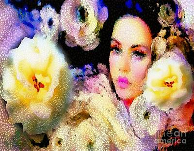 Floral Mosaic She In Thick Paint Art Print