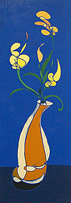 Painting - Floral On Blue by John Gibbs
