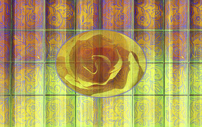 Floral Pattern And Design With Rose Center - Purple And Yellow Art Print by Brooks Garten Hauschild