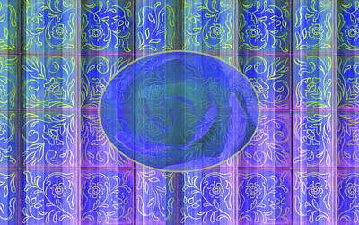 Floral Pattern And Design With Rose Center - Blue And Yellow Art Print by Brooks Garten Hauschild