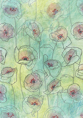 Floral Pattern On A Watercolor Art Print by Gillham Studios