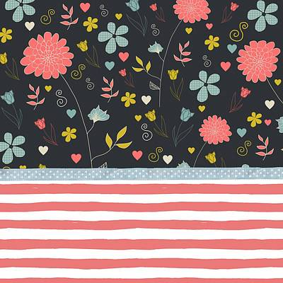 Painting - Floral Pattern With Bold Salmon Stripes by Modern Art