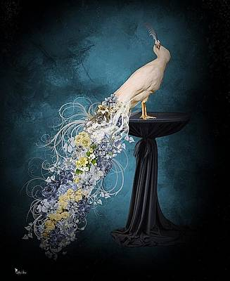 Digital Art - Floral Peacock2 by Ali Oppy