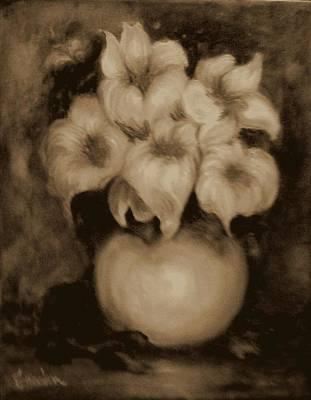 Painting - Floral Puffs In Brown by Jordana Sands