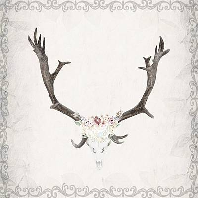 Digital Art - Floral Reindeer Skull  by Michele Carter