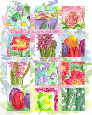 Painting - Floral Sample Collage by Cathie Richardson