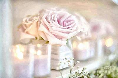 Floral Soft With Candles Art Print
