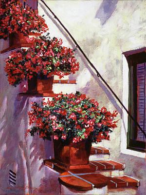Begonias Painting - Floral Stairway by David Lloyd Glover