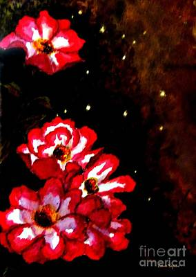 Mixed Media - Floral Starry Night by Leanne Seymour