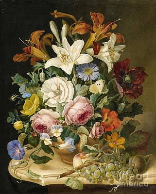 Pollack Painting - Floral Still Life by Celestial Images