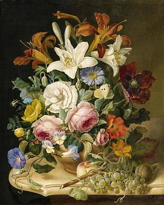 Pollack Painting - Floral Still Life by Eduard Pollack