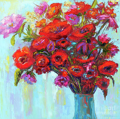 Red Poppies In A Vase, Summer Floral Bouquet, Impressionistic Art Art Print by Patricia Awapara