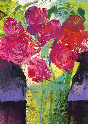 Painting - Floral Still Life Red Roses by Martin Stankewitz