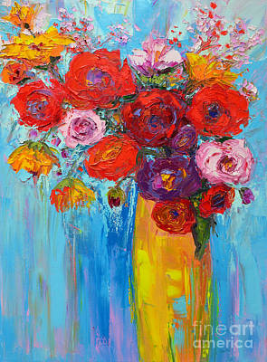 Bold Expressive Floral Painting - Wild Roses And Peonies, Original Impressionist Oil Painting by Patricia Awapara
