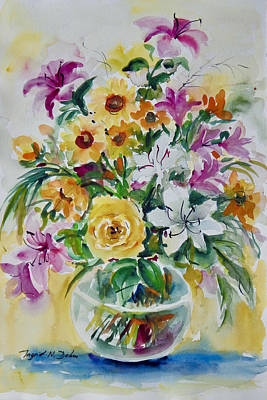 Painting - Floral Still Life Yellow Rose by Ingrid Dohm