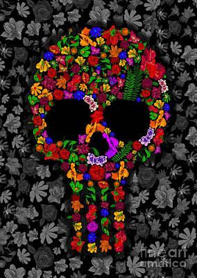 Haunted Mansion Digital Art - Floral Sugar Skull by Three Second